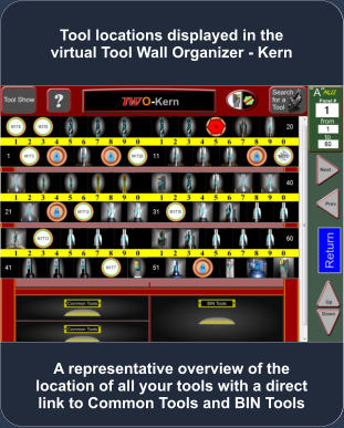 A representative overview of the location of all your tools with a direct link to Common Tools and BIN Tools Tool locations displayed in the virtual Tool Wall Organizer - Kern