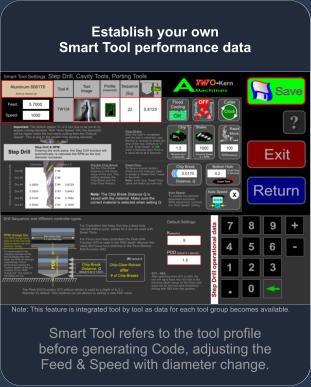 Smart Tool refers to the tool profile before generating Code, adjusting the Feed & Speed with diameter change. Establish your own Smart Tool performance data  Note: This feature is integrated tool by tool as data for each tool group becomes available.