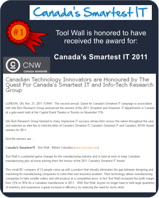 #1 Tool Wall is honored to have received the award for:  Canada�s Smartest IT 2011
