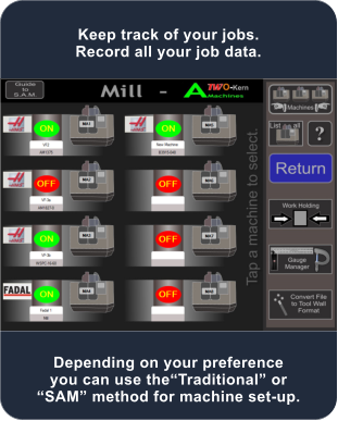 Depending on your preference you can use the�Traditional� or �SAM� method for machine set-up. Keep track of your jobs. Record all your job data.