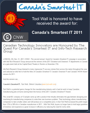 #1 Tool Wall is honored to have received the award for:  Canada's Smartest IT 2011