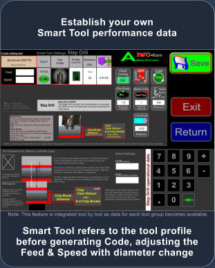 Smart Tool refers to the tool profile before generating Code, adjusting the Feed & Speed with diameter change Establish your own Smart Tool performance data  Note: This feature is integrated tool by tool as data for each tool group becomes available.